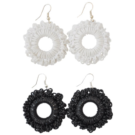 "Black and white ""PVC Round"" earrings"
