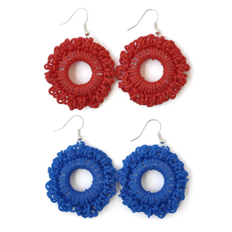 "Red and blue ""PVC Round"" earrings"