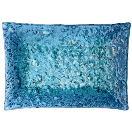 """Bolle blu"" glass tray"